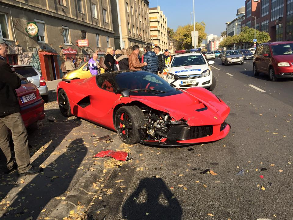 Watch This Ferrari LaFerrari Crash into a Bunch of Parked Cars