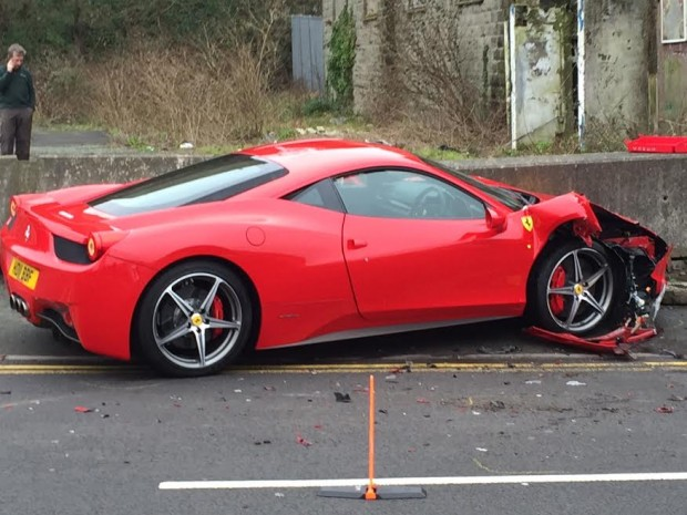 Someone Crashed His Ferrari 458 into an Audi This Morning