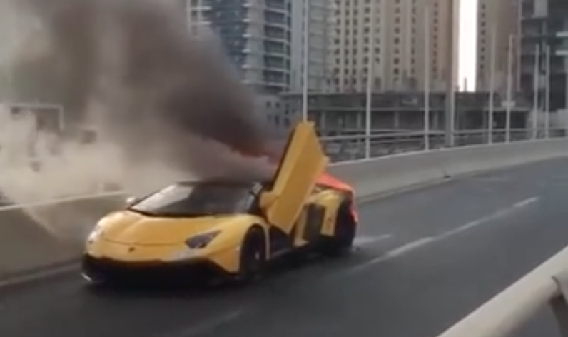 Watch a Lamborghini Aventador Burn to the Ground in Dubai