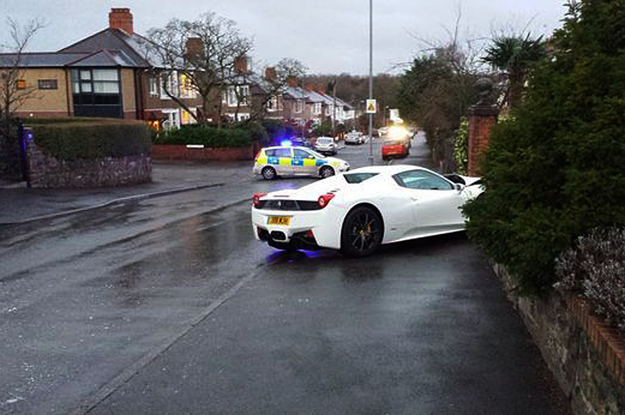 Ferrari 458 Spider Crashes After Losing Control On Black Ice