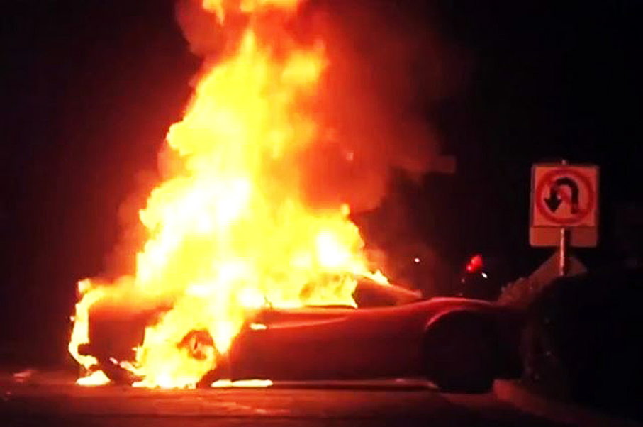 Ferrari Bursts Into Flames and Drives Itself Away While Owner Watches in Horror