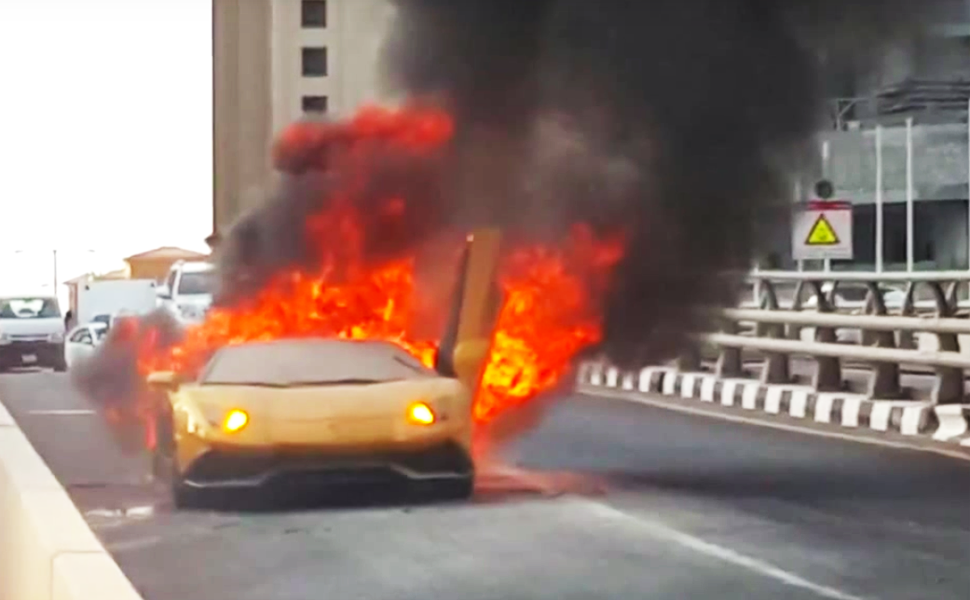 See What Caused This Lamborghini to Burst Into Flames In Dubai