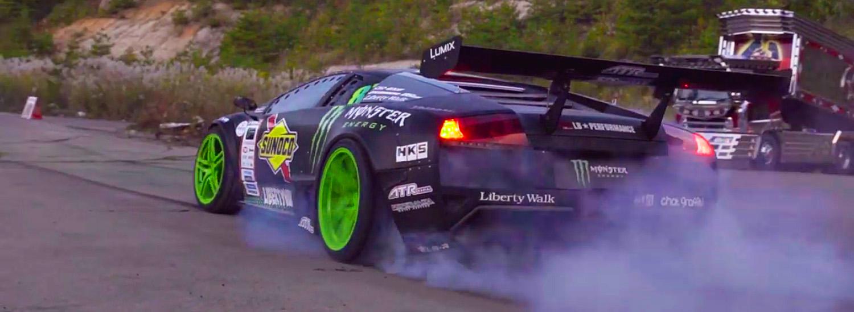 Watch This Crazy Drift Battle Between A Mustang And A Lamborghini