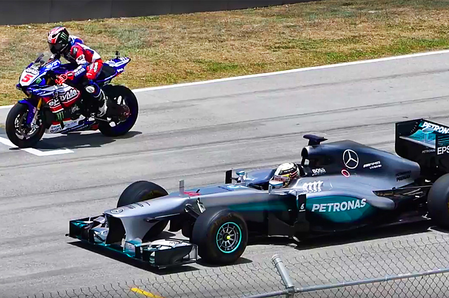 Watch Lewis Hamilton Race a Superbike in his Mercedes F1 Car—And Do Donuts