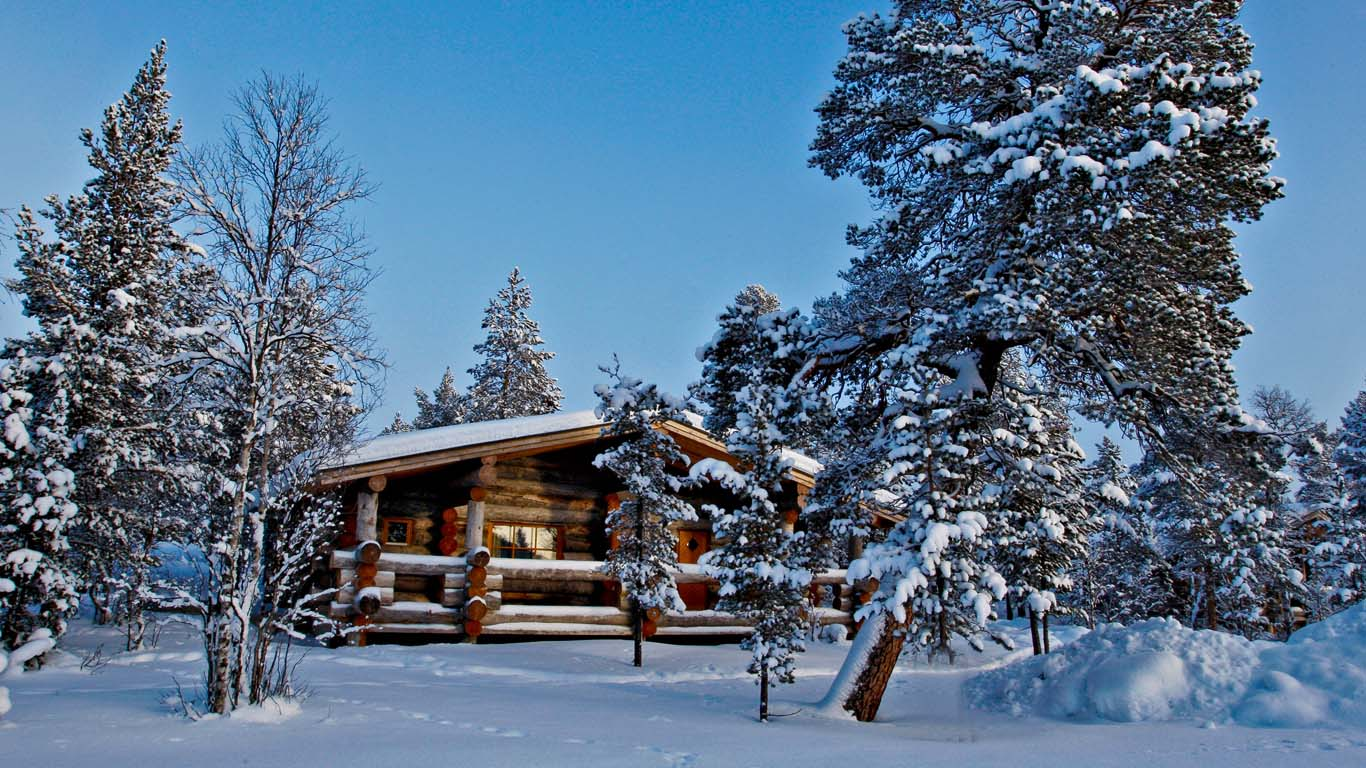 Amazing photo of log cabins2 with #2C709F color and 1366x768 pixels