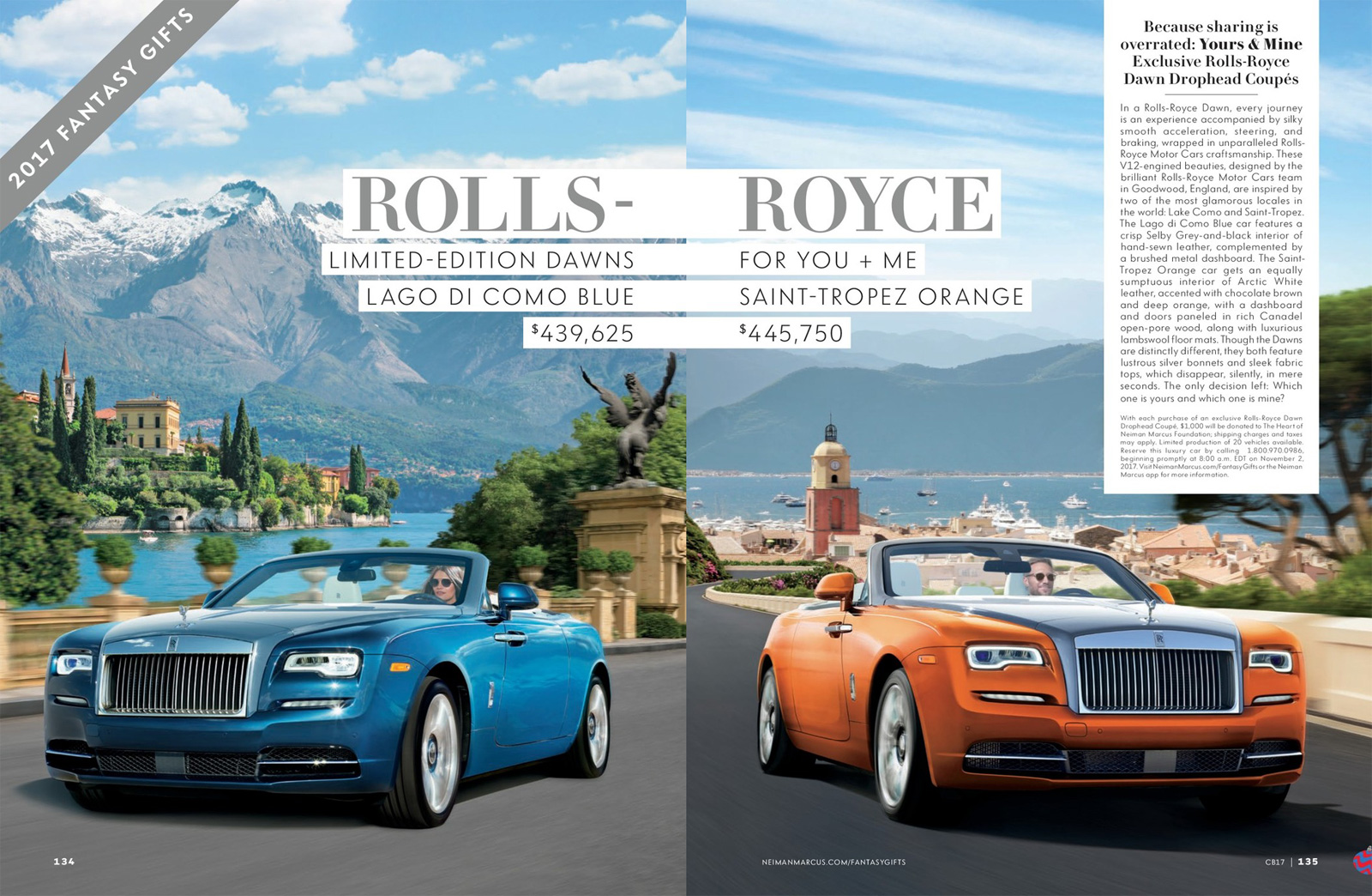 Two Limited Edition Rolls Royce Dawns Are This Yearu0027s Fantasy Gifts In The  Neiman Marcus Christmas Book.