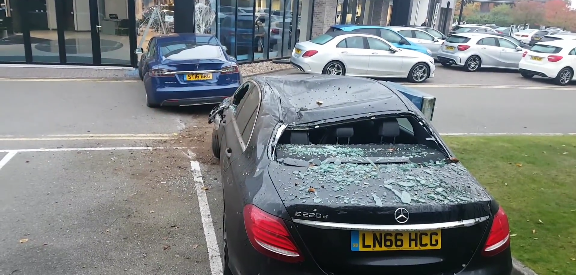 Tesla Model S Assaults a Mercedes Dealership in London